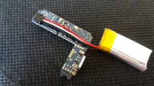 LiPo Battery connected to the PCB board
