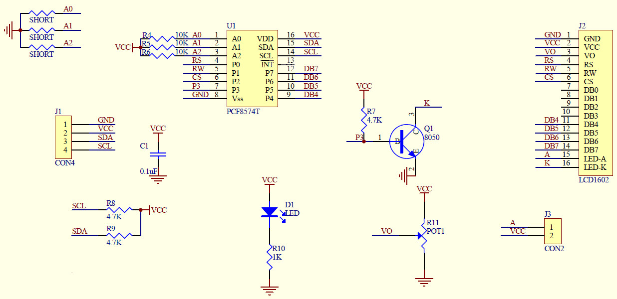 HD44780 with I2C backpack schematic