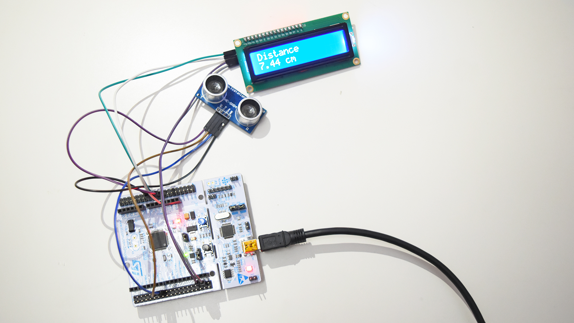 Detecting obstacles using an ultrasonic sensor HC-SR04