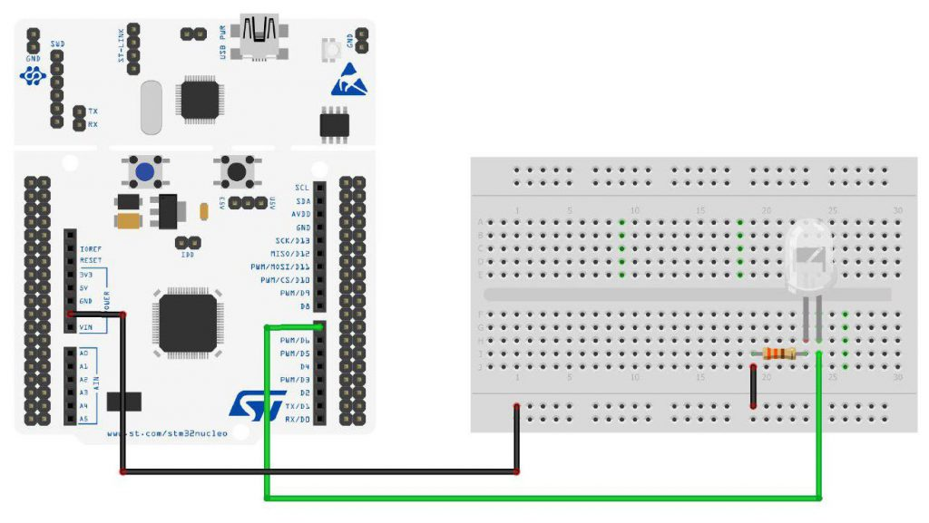 Dealing with LEDs using an STM32