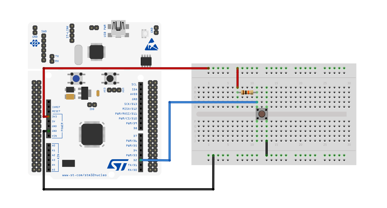 Dealing with push-buttons using an STM32